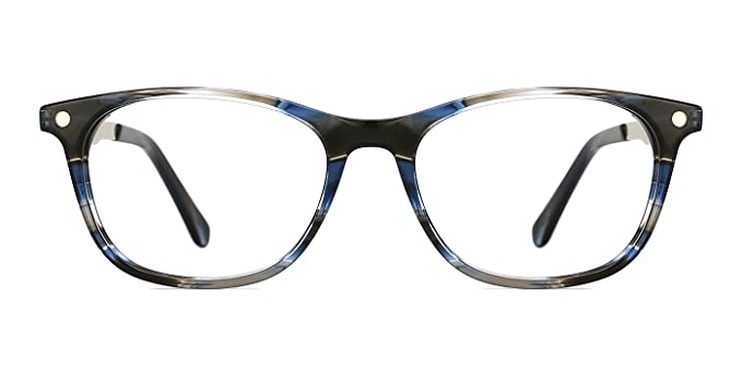 a8b9e053a3 TIJN Acetate Eyeglasses Frame For Women with Flexible Spring Hinge and  Non-Prescription Lens