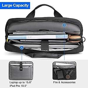 tomtoc 15.6 Inch Laptop Shoulder Bag Laptop Briefcase Messenger Bag Case Sleeve for 15-15.6 Inch MacBook Asus Acer Dell Lenovo HP Laptop, Black