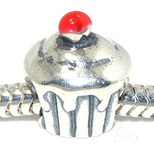 Pro Jewelry 925 Solid Sterling Silver Cupcake with Red Cherry on Top Charm Bead ()
