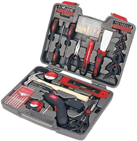 APOLLO TOOLS 144 Piece Household Tool Set With Powerful Cordless Screwdriver and Most Used Tools for Home Repairs, DIY and Crafts – DT8422