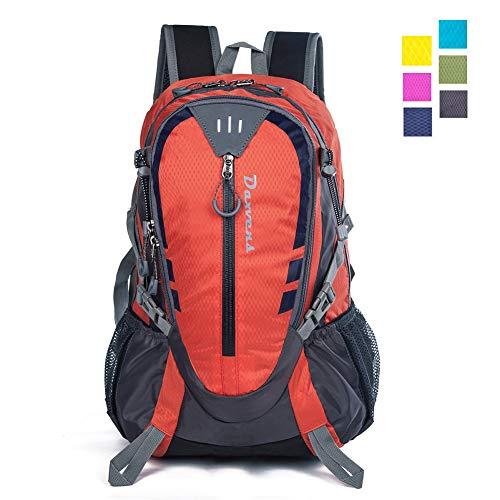 (Daxvens Day Hiking Backpack with Chest Wasit Strap for Men Women Youth, 25L Small Lightweight Water-Resistant Daypack Carry-On Camping Climbing Trekking Cycling Commuter)
