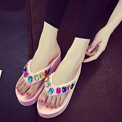 manera moda los de blanco rhinestones de playa de Brown negro 5cm flops de 5 la rosa azul Negro del LIXIONG color verano Zapatos de Los zapatos los Pink la flip EU37 Tamaño Portátil Color x6Pwx4qgf