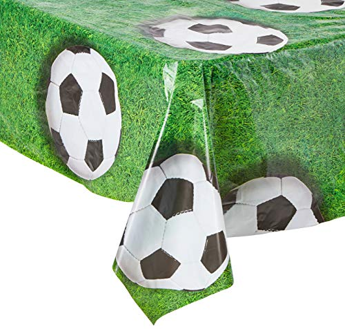 Beistle 54532 Soccer Ball Tablecover, 54 by 108-Inch, Green/White/Black -