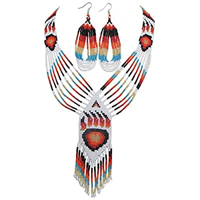 Viva RED WHITE GOLDEN BEADED BEER PAW BEADWORK LARIAT NECKLACE EARRINGS JEWELRY 38/11 supplier