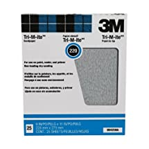 3M Pro-Pak Tri-M-ite Fre-Cut Sanding Sheets, 220A-Grit, 9-Inch by 11-Inch, 25-Pack