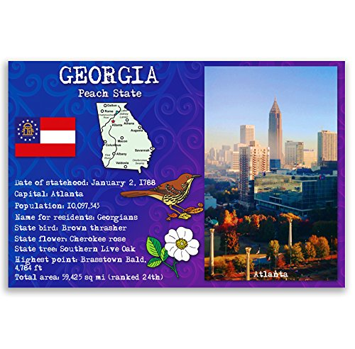 Georgia Ga Postcard (GEORGIA STATE FACTS postcard set of 20 identical postcards. Post cards with GA facts and state symbols. Made in)