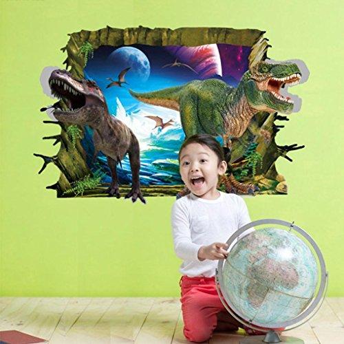 Vibola DIY 3D Dinosaur Floor Wall Sticker Cartoon Broken Door Wall Stickers Kids Children's Wall Decals Murals Room Decoration Mural Home Decor