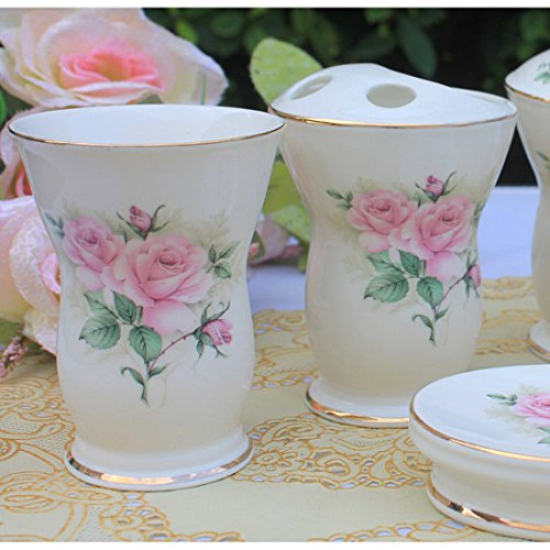 Ustarail ceramic bathroom 5 pieces set supplies pink - Anna s linens bathroom accessories ...