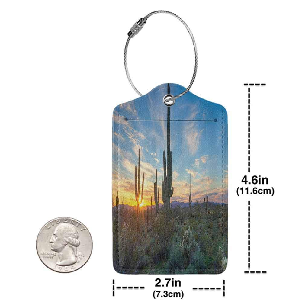 Flexible luggage tag Saguaro Cactus Decor Sun is Setting Between Cactus Spines Magical Noon Landscape Wild Design Fashion match Green Blue W2.7 x L4.6