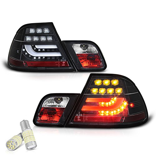 [4-Piece] VIPMOTOZ Black Bezel Premium OLED Neon Tube LED Tail Light Lamp Assembly For 2000-2003 BMW E46 3-Series Pre-LCI Coupe - Full SMD LED Reverse Bulbs Included, Driver & Passenger Side Pair