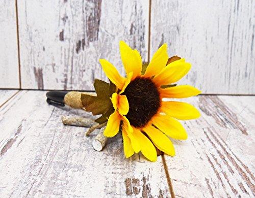 Sunflower Burlap Wedding Guest Book Pen, Rustic Wedding Pen, Shabby Chic Wedding Pen, Burlap Flower Pen, Wedding Pen, Sharpie Guest Book Pen by Crafty Witches Decor / Rustic Sugar Creek Co.