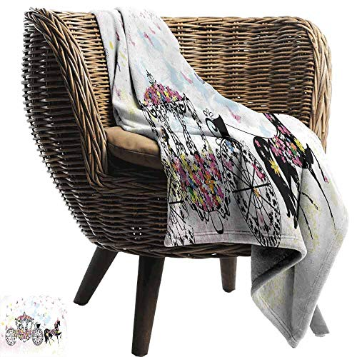 Kids Decor Throw blanket,Vintage Floral Carriage Black Horse Colorful Flowers Fairy Butterfly Girls Fun Party Print Sofa Super Soft Plush Fuzzy Microfiber Throw Reversible Comfy -
