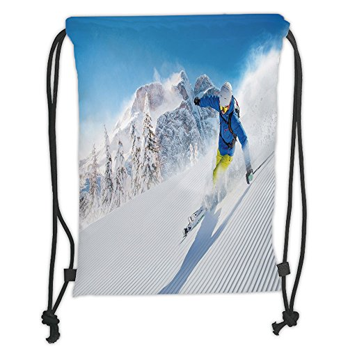 Custom Printed Drawstring Sack Backpacks Bags,Winter,Skier Skiing Downhill in High Mountains Extreme Winter Sports Hobbies Activity Decorative, Soft Satin,5 Liter Capacity,Adjustable String Closure,Th by iPrint