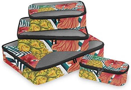 熱帯の夏の葉抽象荷物パッキングキューブオーガナイザートイレタリーランドリーストレージバッグポーチパックキューブ4さまざまなサイズセットトラベルキッズレディース