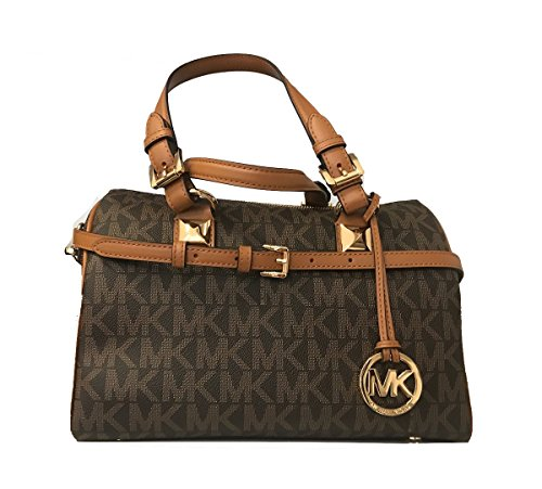 Michael Kors Grayson Medium Satchel Signature (Deep Brown) by Michael Kors
