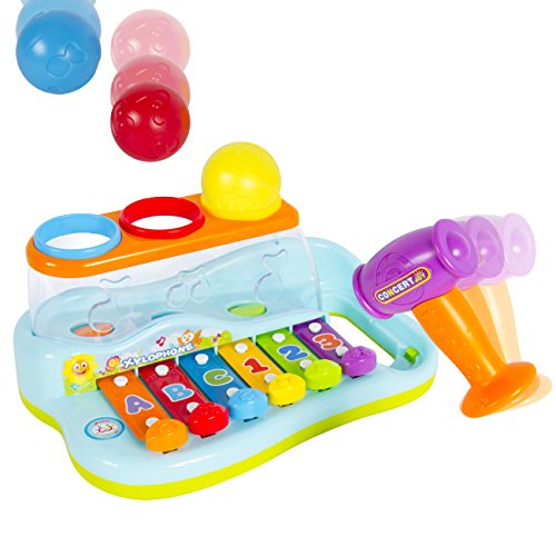 Best Choice Products Kids Musical Rainbow Xylophone Piano Pounding Bench with Balls & Hammer by Best Choice Products