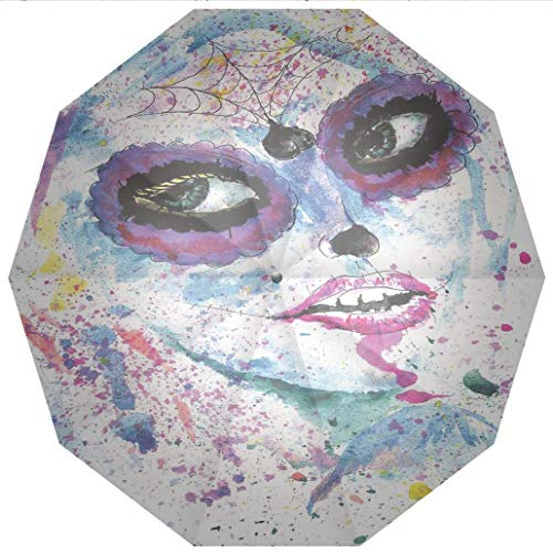 Compact Travel Umbrella UV Protection Auto Open Close Girls,Grunge Halloween Lady with Sugar Skull Make Up Creepy Dead Face Gothic Woman Windproof - Waterproof - Men - Women -Lightweight- 45 inches ()
