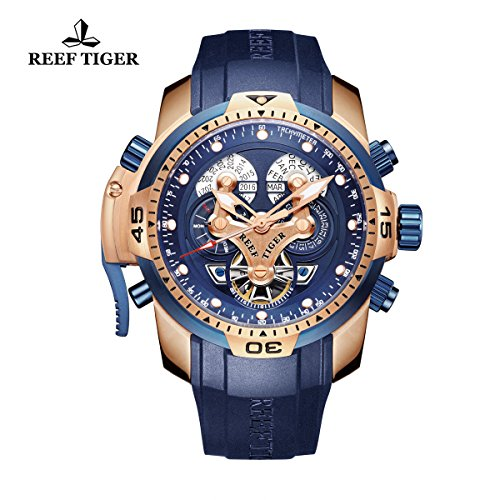 Reef Tiger Mens Sport Blue Watch Black Rubber Rose Gold Automatic Watch RGA3503