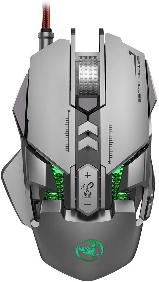Dacorda J800 USB Interface 6400 DPI7-Key Macro Definition Programmable Wired Gaming Mouse Comfortable Ergonomic Design Optical Mouse for Home Office Game Player Computer Accessories Gaming Mice