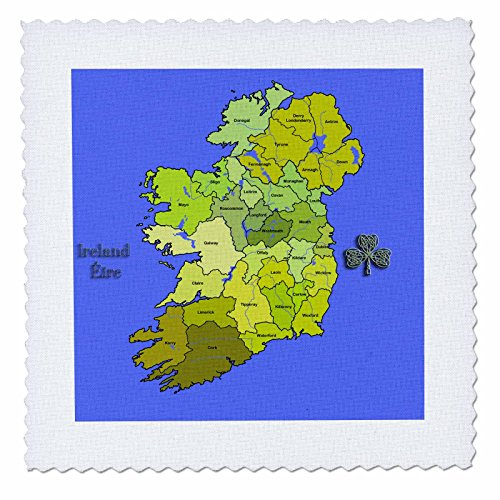- 3dRose qs_110030_10 Colorful Green Map of All Ireland, Irish Republic and Northern Ireland with All Counties Shown-Quilt Square, 25 by 25-Inch