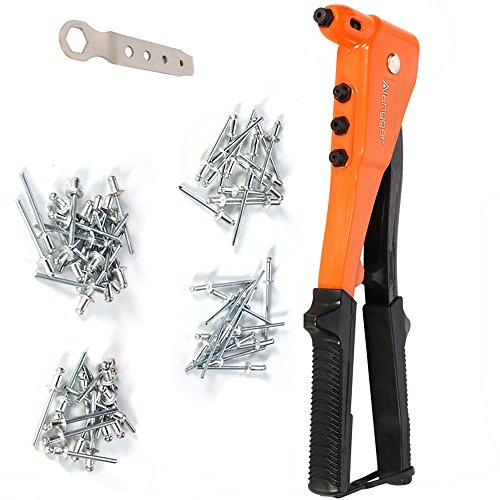 Professional Pop Rivet Gun Kit-Heavy Duty Riveter with 60 Metal Rivets(4 Different Nozzles Size) and a Service Wrench -Hand Repair Tool ()