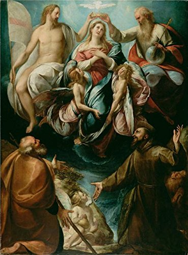 Oil Painting 'Coronation Of The Virgin With Saints Joseph, Francis Of Assisi, About 1604 - 1607 By Giulio Cesare Procaccini' 30 x 41 inch / 76 x 103 cm , - Academy Oakley Sunglasses