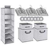 Minnebaby 42-Piece Nursery Organizer Storage Closet Set, Chevron Pattern, Grey