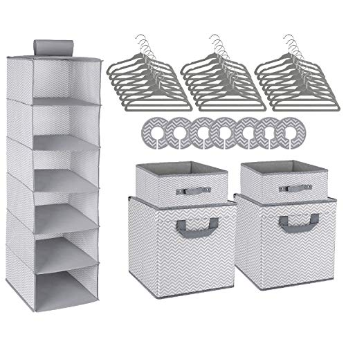 Minnebaby 42-Piece Nursery Organizer Storage Closet Set, Chevron Pattern, Grey