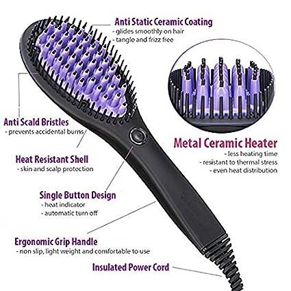 No daños pelo alisado de Peine Plancha de pelo cepillo – efectiva de cabello y plancha