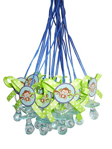 Sweet Safari Blue Monkey Baby Shower Pacifier Necklace Game Party Pack (12) ()