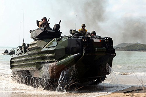 Posterazzi Poster Print Collection an Amphibious Assault Vehicle Hits the Beach During a Mechanized Raid Stocktrek Images, (17 x 11), Multicolored