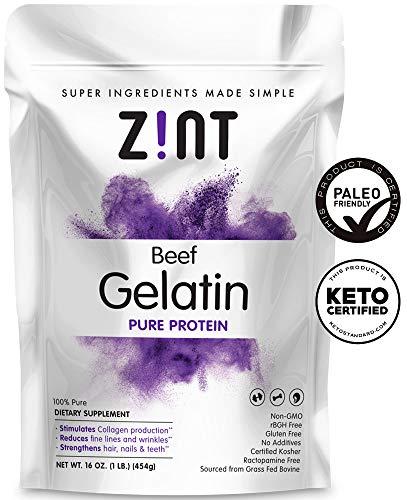 Zint Beef Gelatin Powder (16 oz): Unflavored, Keto Certified, Paleo Friendly Collagen Based Protein - For Baking, Jello & Thickening ()