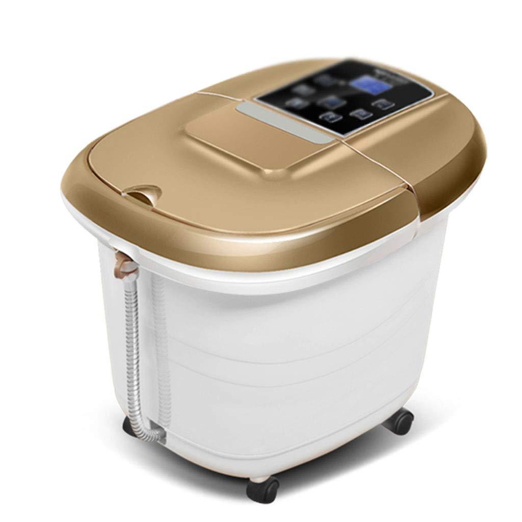 フットマッサージャーフットバス バブルフットバケット自動加熱発泡フットセルフサービスマッサージ電気フットバスサーモスタットフットバス取り外し可能な深いバレルフット洗浄 (Color : Gold, Size : 42 * 36 * 34cm) B07JXRSQ1J  Gold 42*36*34cm