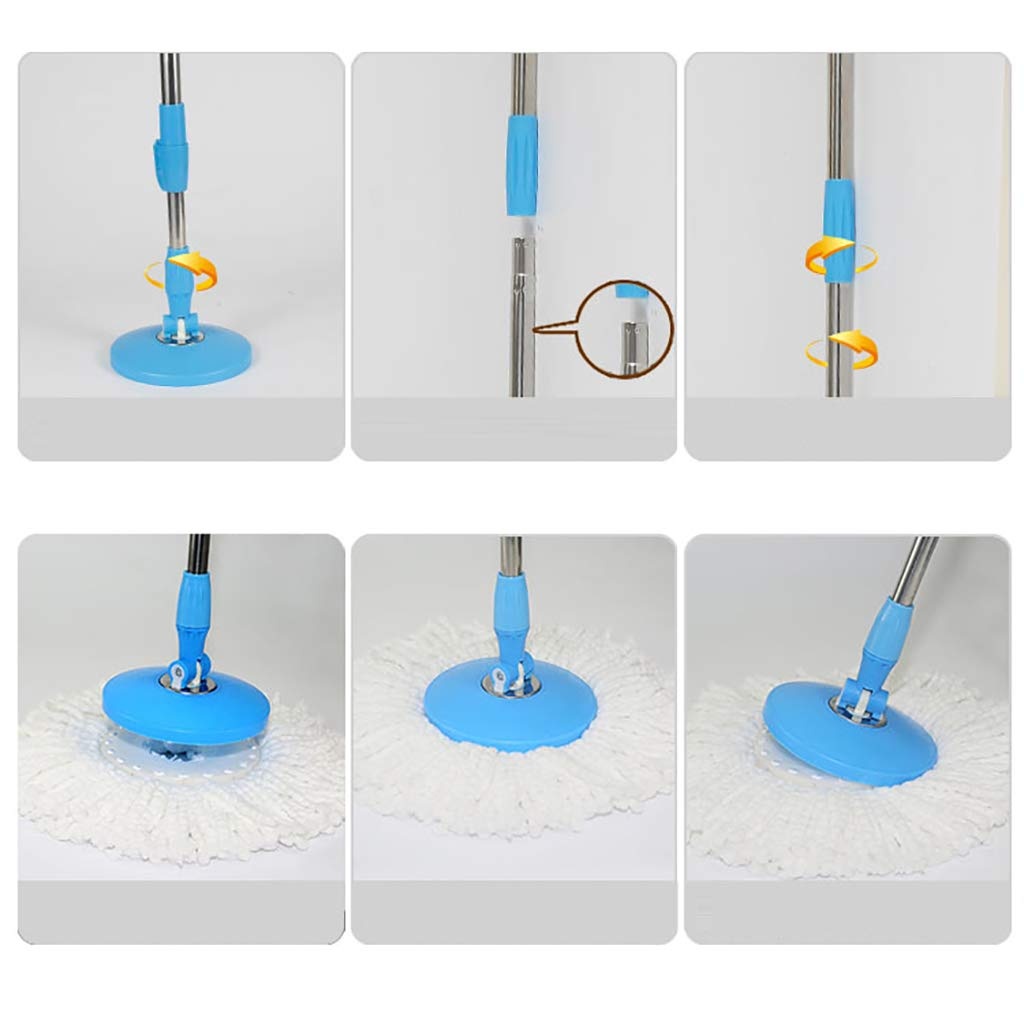Wet Mops Rotating mop, 360° rotating mop head, hand-free washing, washing and drying, (microfiber) by QSJY mop (Image #6)