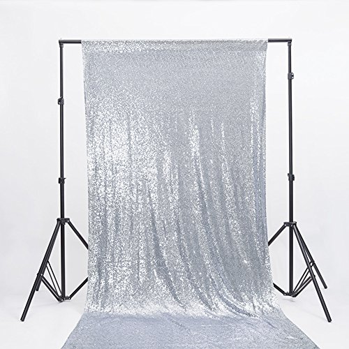 Zdada Holiday Party Photo Booth Backdrop Sparkly Curtain-Seamless Silver 3.5ftx7ft ()
