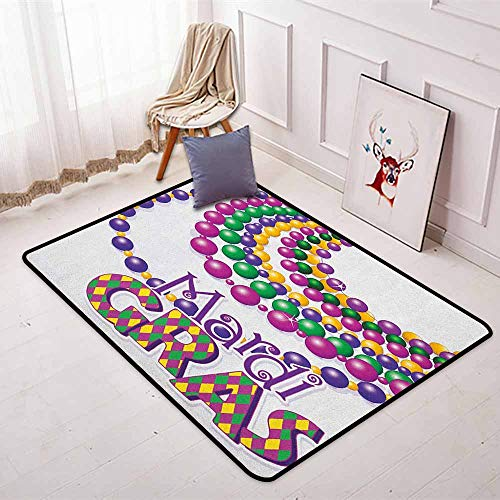 (Mardi Gras Non-Slip Absorbent Carpet Colorful Beads Party Necklaces with Mardi Gras Calligraphy Patterned Design for Floor Carpets W47.2 x L71 Inch Multicolor)
