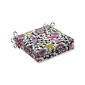 Pillow Perfect Outdoor/Indoor Menagerie Spectrum Square Corner Seat Cushions, 20 in. L X 20 in. W X 3 in. D, Black, 2 Pack