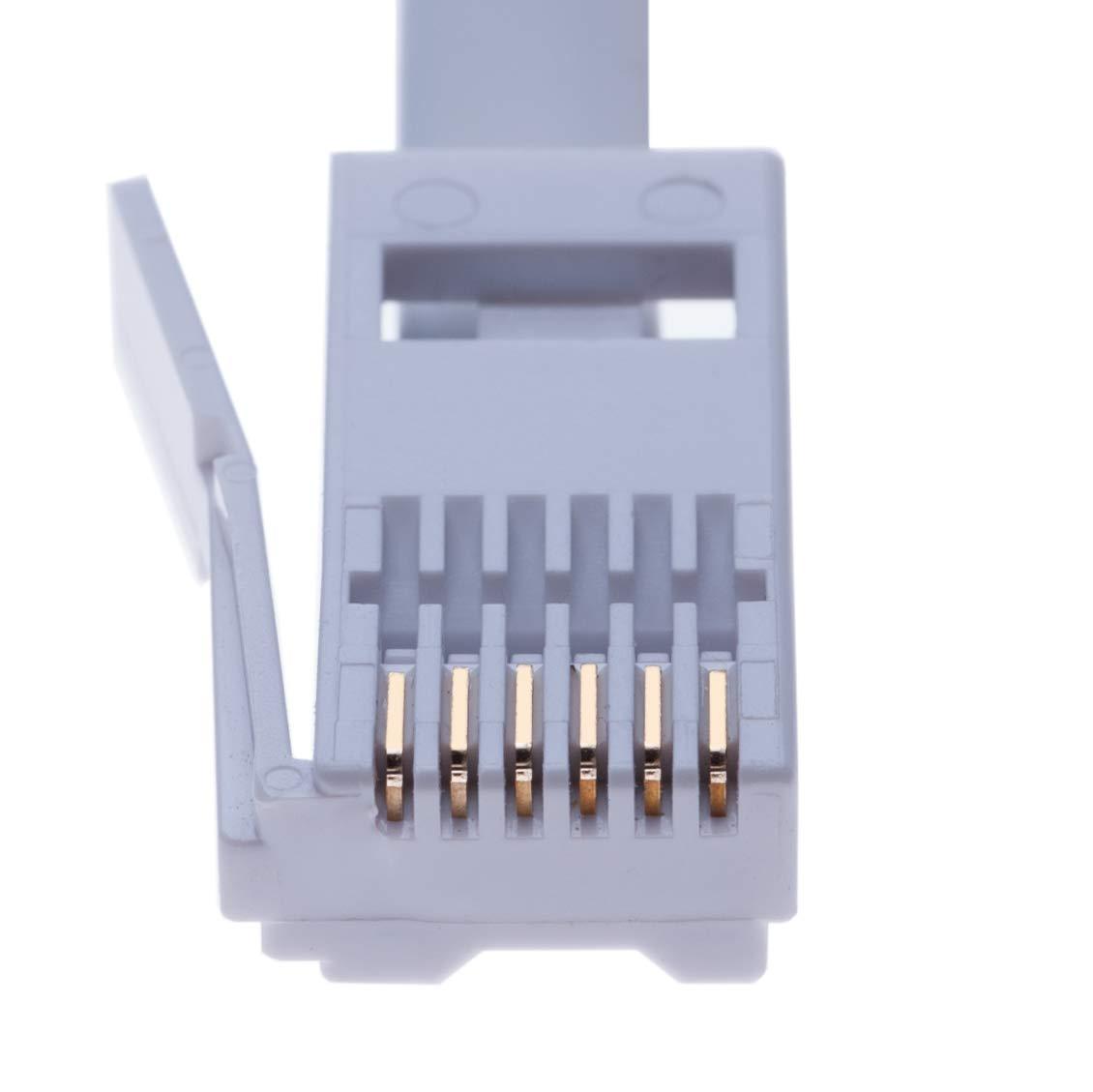 Combin/é Blanc Modem Fax Rallonge T/él/éphonique 5m C/âble BT Plomb Plein 6 Fils De lhomme /à la Femme Fiche /à Prise de Courant pour Le Bureau et la Maison Large Bande Compatible avec T/él/éphone