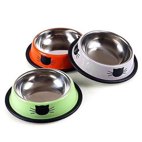 Tofree 2PCS in acciaio INOX cane gatto ciotola Pet food ciotola mangiatoia per cibo per gatti colore casuale