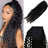 JoYoung 14' Kinky Curly Ponytail Extensions Wrap Around Human Hair Natural Black #1b for Black Women One Piece Curly Hair Ponytail Extension 80g/set