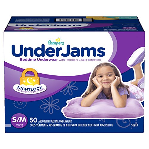 Large Product Image of Pampers UnderJams Disposable Bedtime Underwear for Girls Size S/M, 50 Count, SUPER