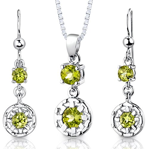 (Peridot Pendant Earrings Necklace Sterling Silver Rhodium Nickel Finish Round Shape 2.00 Carats)