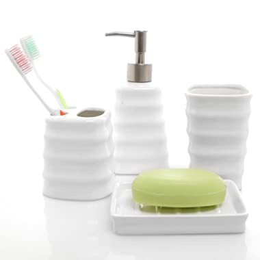 4 Piece Ribbed White Ceramic Bathroom Accessory Set w/ Toothbrush Holder, Tumbler, Soap Dish & Dispenser