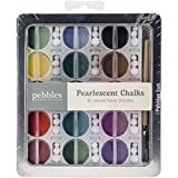 Pearlescent Chalk Set by Pebbles Inc. | Jewel Tones | Includes 30 chalks in various colors, applicator tool, and reusable pom-poms