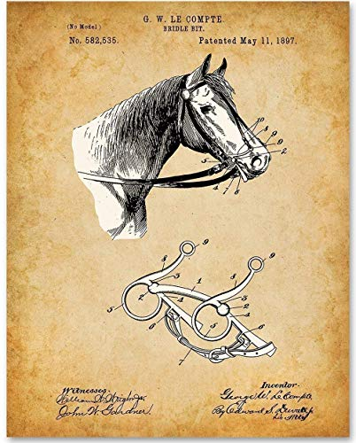 Horse Bridle Bit - 11x14 Unframed Patent Print - Makes a Great Gift Under $15 for Horse Lovers, Equestrians, Horse Racing Fans and Country Decor