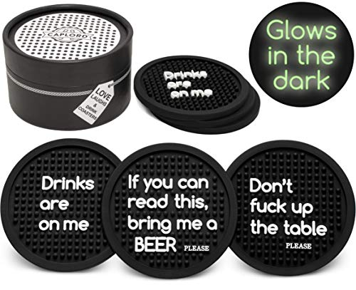 Coasters for Drinks - Absorbent Drink Coaster - Glow in the Dark (6-Piece Set), Moisture Retaining, Man Cave Presents, Housewarming Hostess Gifts for New Home (3 different funny sayings)