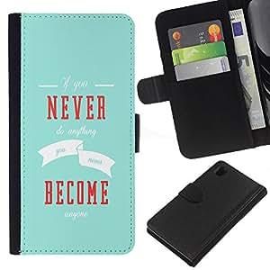 Sony Xperia Z1 L39 C6902 C6903 C6906 C6916 C6943 , la tarjeta de Crédito Slots PU Funda de cuero Monedero caso cubierta de piel ( Never Become Inspiring Message Blue Modern)