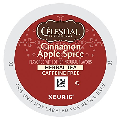 Celestial Seasonings Cinnamon Apple Spice Herbal Tea, Single-Serve Keurig K-Cup Pods, Apple Cinnamon Flavored Tea