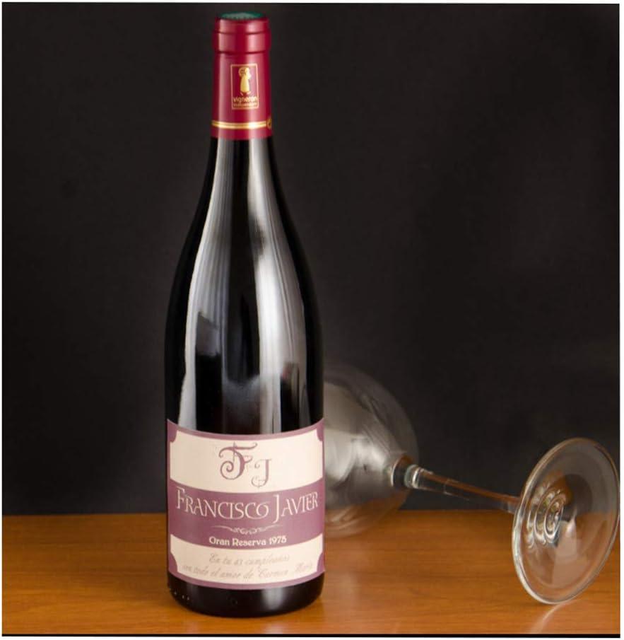 Regalo Personalizado: Botella de Vino con Etiqueta Personalizada con el Nombre, año de Nacimiento y la dedicatoria Que desees, en una Caja de Madera Personalizada