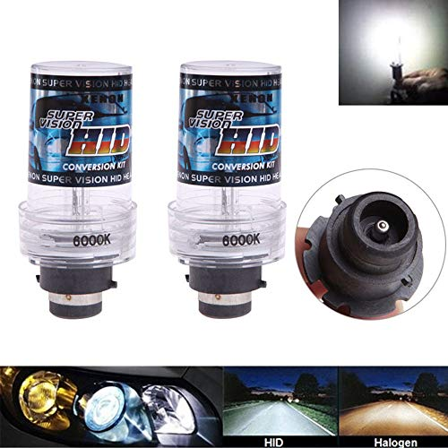 Headlight Replacement Bulbs, 6000K 35W D2S D2R D2C HID Xenon 12V Car Headlight Lamps Diamond White (Pack of 2) (Factory Lights Hid)